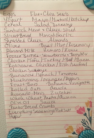 A List I keep of everything I buy weekly.