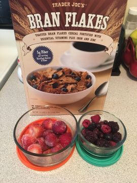 Thawing berries for the week to put in my cereal, yogurt and smoothies